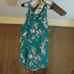 Torrid Turquoise Floral Tank Top Size 4